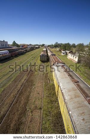 Train station, aerial. Transport, transportation. - stock photo