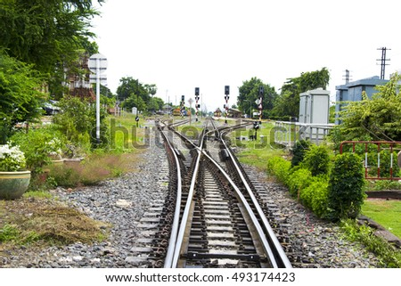 train station and Railroad at lopburi , thailand