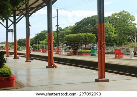 Train station background - stock photo