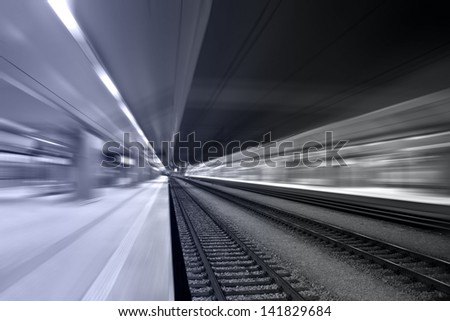 Train station in motion
