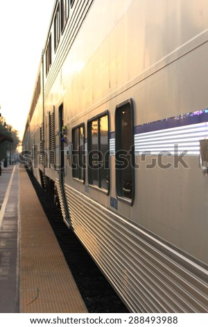 Train Station in Ventura California with a view of a train. - stock photo