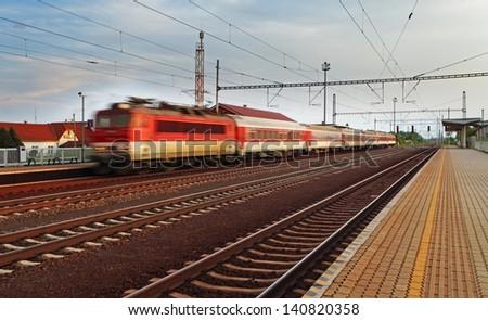 Train station platform - stock photo