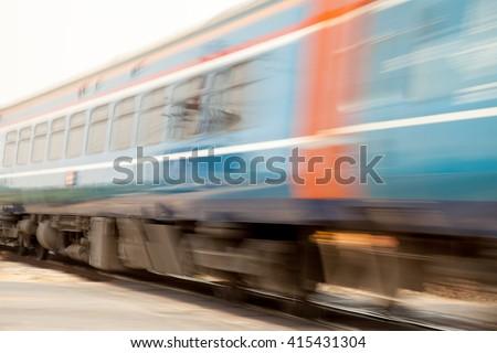 Train Thailand hi-speed soft focus blurry - stock photo
