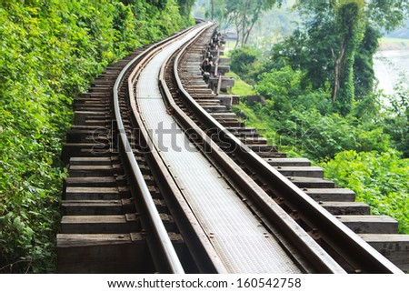 Train the beautiful historic city of Kanchanaburi. - stock photo