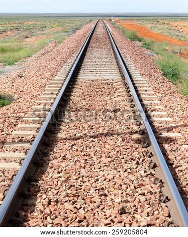 train track outback australia near Hay - stock photo