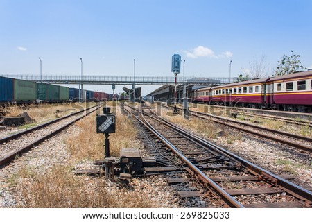 Train track, railway station or platform,Railway Platform