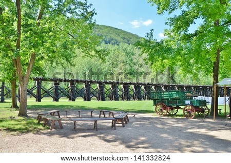 Train Tracks at Harpers Ferry in West Virginia USA - stock photo