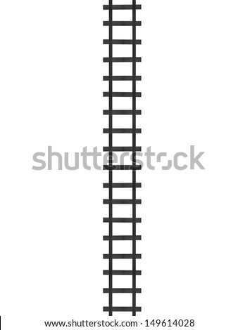 Train tracks isolated against a white background - stock photo
