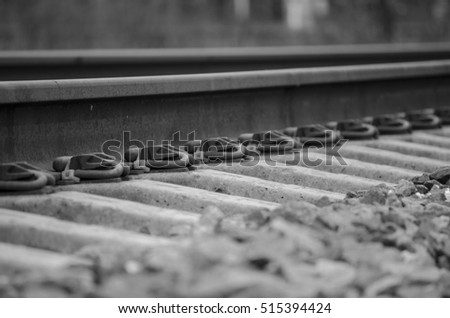 Train tracks up close