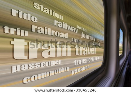 train travel word cloud against blurred  landscape as seen from a  train window in motion - trip concept