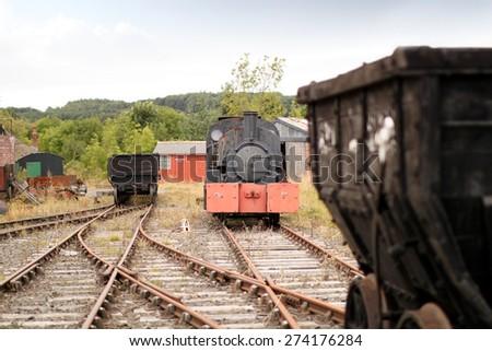 Train Trucks on Old Abandoned Steam Railroad - stock photo