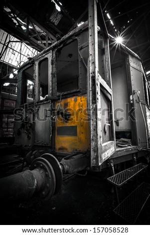 train wagon the train into a cemetery - stock photo