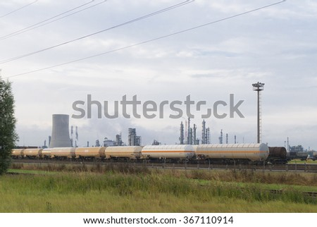 train wagons with fuel in the harbor of Antwerp, Belgium - stock photo