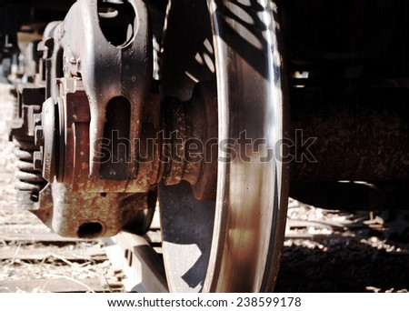 Train wheel from Sioux City, Iowa train station. - stock photo