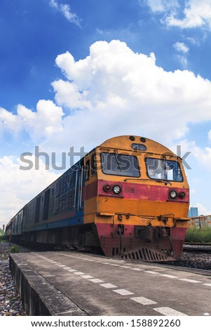 Train with blue sky - stock photo