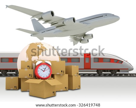 Train with earth and jet on isolated white background. Elements of this image furnished by NASA