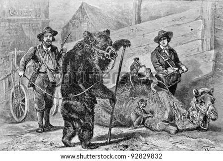 "Trained the brown bear and the camel. Engraving by Specht. Published in magazine ""Niva"", publishing house A.F. Marx, St. Petersburg, Russia, 1893"