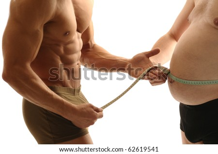 Trainer measures overweight man