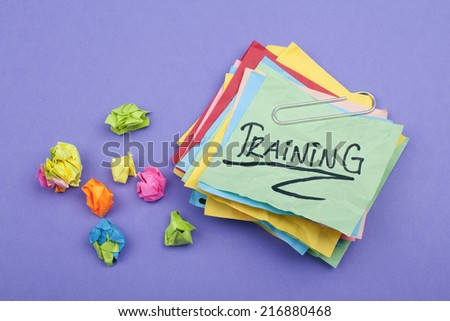 Training Adhesive Note - stock photo