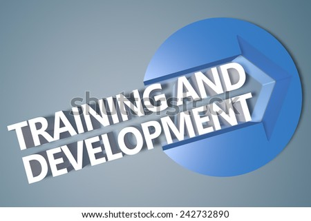 Training and Development - 3d text render illustration concept with a arrow in a circle on blue-grey background