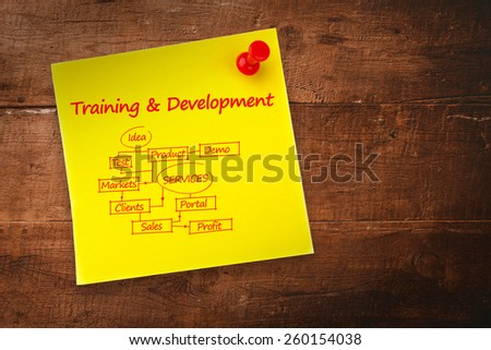Training and development flowchart against yellow pinned adhesive note - stock photo