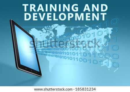Training and Development illustration with tablet computer on blue background - stock photo