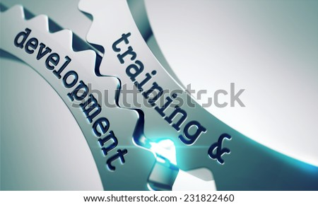 Training and Development on the Mechanism of Metal Gears. - stock photo