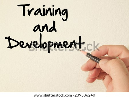 Training and development  text write on wall  - stock photo