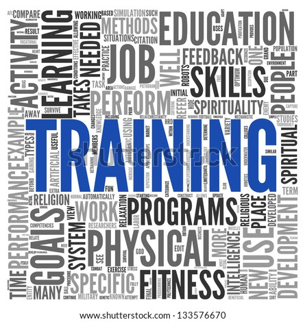 Training and education related words concept in tag cloud - stock photo