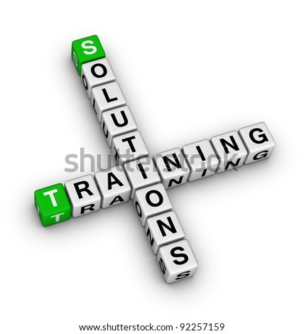 training and solution (green white 3d crossword puzzle)