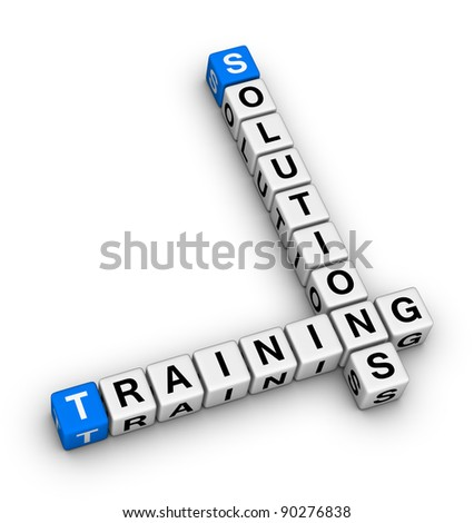 training and solution (red white 3d crossword puzzle) - stock photo