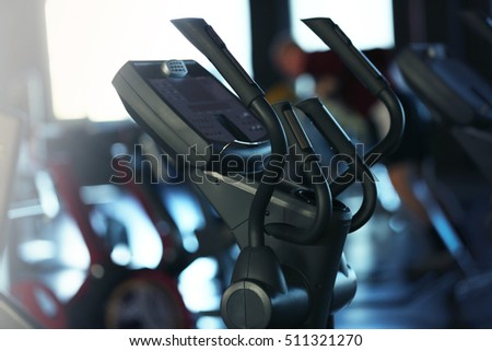 Training apparatus in modern gym, closeup