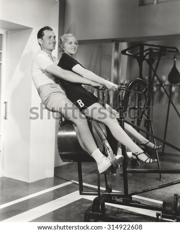 Training at the gym - stock photo