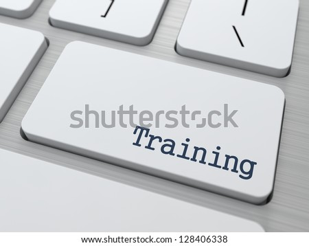 Training Button on Modern Computer Keyboard with Word Partners on It. - stock photo