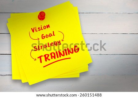 Training buzzwords against sticky note with red pushpin - stock photo