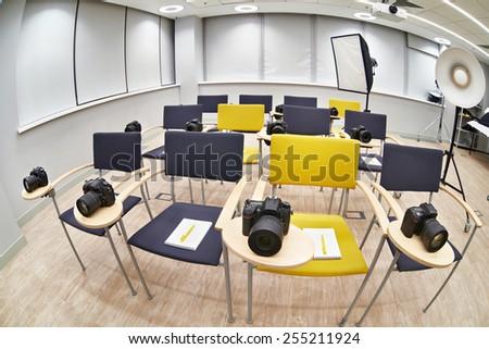Training class in modern photography school. Fish-eye  - stock photo