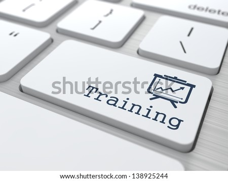 Training Concept. Button on Modern Computer Keyboard. - stock photo