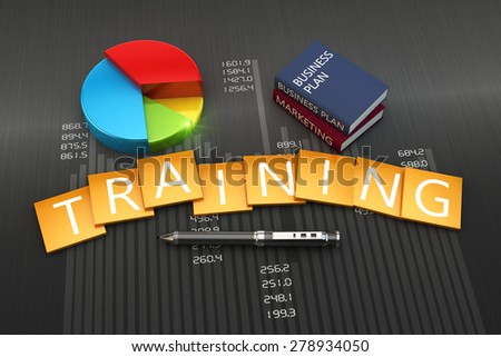 Training concept illustration of business books - stock photo
