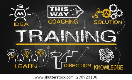 training concept with education elements - stock photo