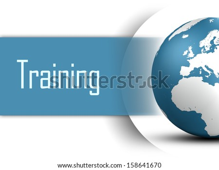 Training concept with globe on white background - stock photo