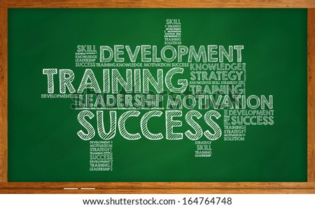 Training, development, leadership, success and motivation on chalkboard - stock photo