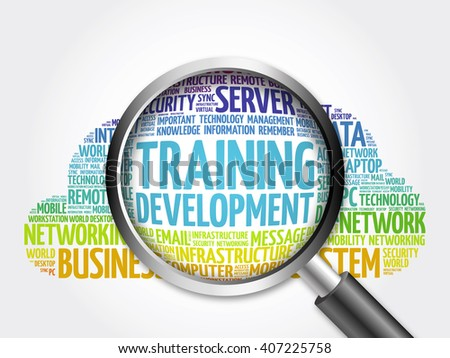 Training development word cloud with magnifying glass, business concept - stock photo