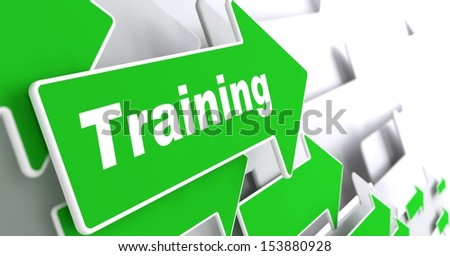 """Training - Educational Background. Green Arrow with """"Training"""" Slogan on a Grey Background. 3D Render. - stock photo"""