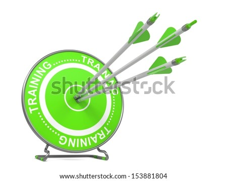 """Training - Educational Background. Three Arrows Hitting the Center of a Green Target, where is Written Word """"Training"""". 3D Render. - stock photo"""
