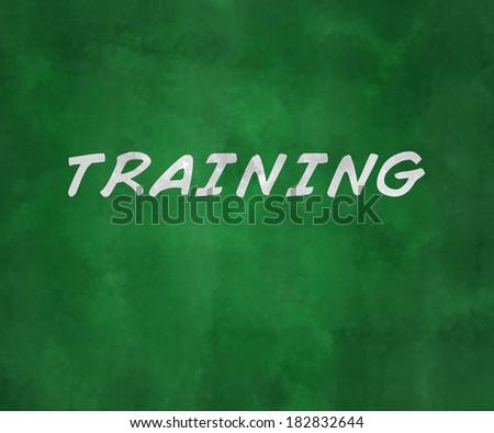 Training Green Chalk Board - stock photo