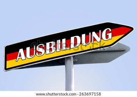 TRAINING in german word on road sign with color of german flag - stock photo