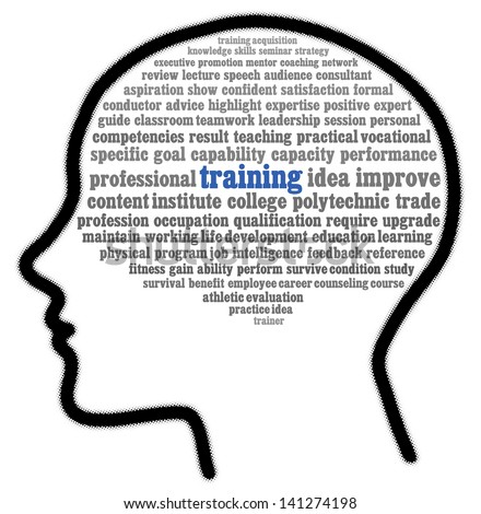 Training in words cloud - stock photo