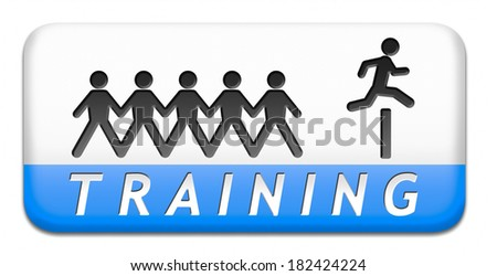 training learning for knowledge and wisdom or physical fitness sport practice work out or education with text and word concept button or icon