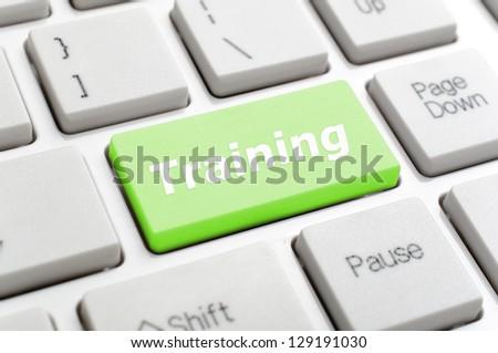 Training on keyboard - stock photo