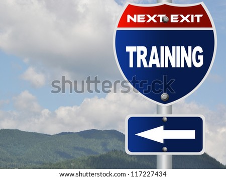 Training road sign - stock photo